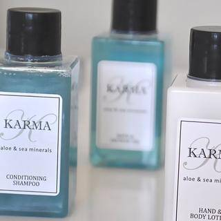 Karma's 50ml shampoo, shower gel and lotion have a subtle aloe & sea mineral fragrance in a delightful blue colour.