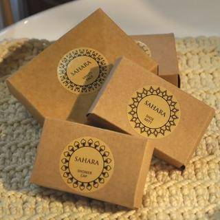 The Sahara amenities are packaged in recyclable cardboard boxes with an ethic logo.