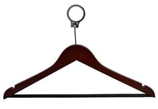 Dark Wood Anti Theft Hanger with anti theft ring
