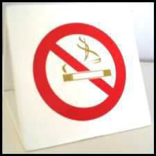 No Smoking Wooden Sign in white